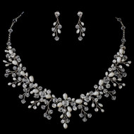 Crystal Bead and Freshwater Pearl Vine Wedding Jewelry Set