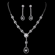 CZ Drop Wedding Necklace and Earrings Jewelry Set