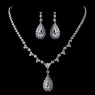 Glamorous CZ Wedding Necklace and Earrings Jewelry Set