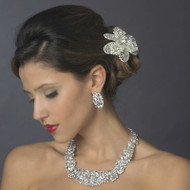 Dramatic CZ Wedding Necklace and Earrings Jewelry Set