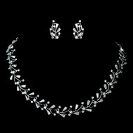 CZ Crystal Vine Wedding Jewelry Set ne1286