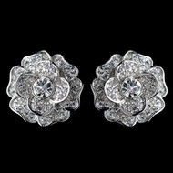 Crystal Rose Clip On Style Stud Formal and Wedding Earrings