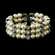Ivory Pearl and Rhinestone Wedding Cuff Bracelet