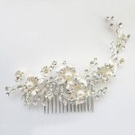 Silver Plated Champagne Floral Wedding Comb with Ivory Pearls