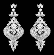 Unique Vintage Look Cubic Zirconia Drop Wedding Earrings