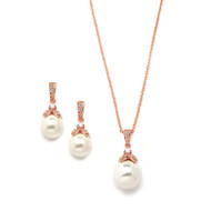 Rose Gold Mariell Pearl and CZ Bridal and Bridesmaid Jewelry 3045S-RG