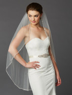 Ivory Beaded Edge Knee Length Wedding Veil 4466V