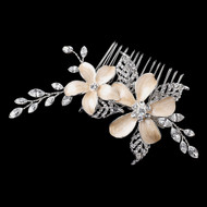 Silver Rhinestone Wedding Hair Comb with Champagne Flowers