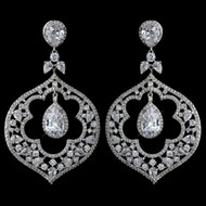 Rhodium Plated CZ Crystal Renaissance Wedding Earrings