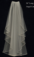 Beaded Angel Cut Fingertip Length Wedding Veil C428