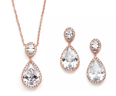 Rose Gold Couture Pear Shaped CZ Pendant and Earrings Jewelry Set