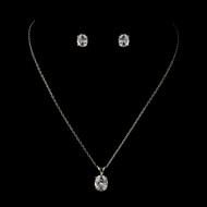 6 Petite Silver Plated CZ Pendant Bridesmaid Jewelry Sets