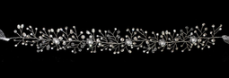 Hand-Wired Pearl, Crystal  and Rhinestone Hair Vine Wedding Headband