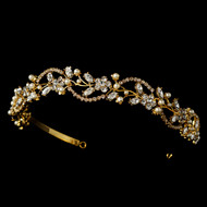 Gold Plated Crystal and Pearl Floral Vine Bridal Headband