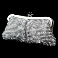 Glamorous Silver Two Sided Crystal Evening Bag Purse