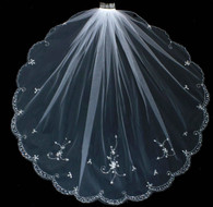 Sparkling Beaded Scallop Fingertip Wedding Veil VFF3123