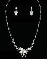 Silver Plated Freshwater Pearl and CZ Wedding Jewelry Set - sale!