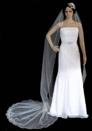 Regal Beaded Scalloped Edge Cathedral Length Wedding Veil