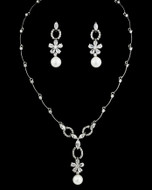White Pearl and  CZ Crystal Floral Bridal Jewelry Set