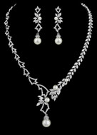 Charming Pearl and CZ Bridal Jewelry Set NE4000