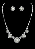 Vintage Look Pearl and CZ Bridal Jewelry Set