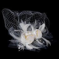 Double Satin Flower and Feather Fascinator with Birdcage Bridal Veil
