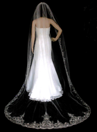 Regal Beaded Silver Embroidery Cathedral Wedding Veil VC3060