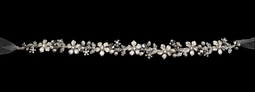 Freshwater Pearl, Crystal Floral  Wedding Dress Belt or Headband
