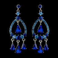 Sapphire Blue Crystal Chandelier Wedding and Prom Earrings