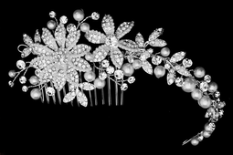 Floral Pearl and Rhinestone Wedding Comb c5058 - sale!