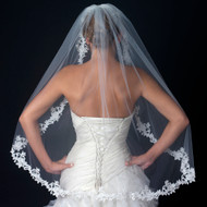 Delightful Ivory Floral Lace Fingertip Length Wedding Veil V1138