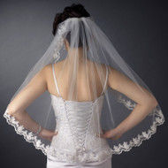 Scallop Floral Embroidery Fingertip Length Wedding Veil