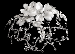 Chic Rhinestone and Flower Wedding Cap Clip