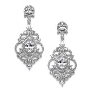 Silver Platinum Victorian Scrolls CZ Wedding Earrings