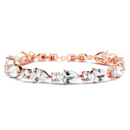 Rose Gold Plated CZ Pears and Rounds Wedding Bracelet