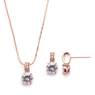5 Sets Delicate Rose Gold CZ Bridesmaid Jewelry