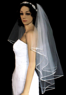 Two Layer Satin Cord Foldover Fingertip Length Wedding Veil