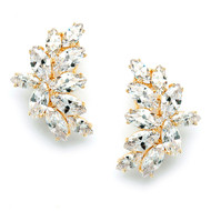 Gold Plated CZ Marquis Cluster Wedding Earrings in Pierced or Clip