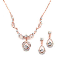 5 Sets Rose Gold Plated Crystal Bridesmaid Jewelry