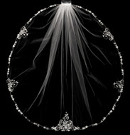 Elaborate Beaded Silver Embroidery Fingertip Wedding Veil