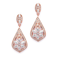 Glamorous Art Deco 14K Rose Gold CZ Wedding Earrings
