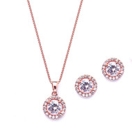 Rose Gold Halo CZ Bridal and Prom Jewelry Set