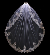 Extravagant Beaded Embroidery Fingertip Wedding Veil