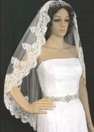 Beaded French Lace Edge Fingertip Length  Wedding Veil