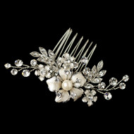 Silver Rhodium Rhinestone and Pearl Floral Wedding Comb