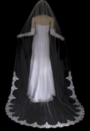 Beaded Lace Edge Cathedral Length Wedding Veil VF3001CU