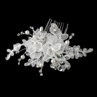 Crystal and Pearl Lacey Floral Wedding Comb