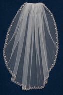 Rum Pink Fingertip Length Wedding Veil with Rose Gold Embroidery