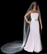 Cathedral Length Triple Bugle Bead Edge Wedding Veil