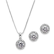 5 Sets Halo CZ Silver Platinum Plated  Bridesmaid Jewelry